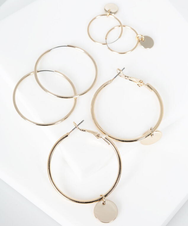 Hoop Earring Set, Gold, hi-res