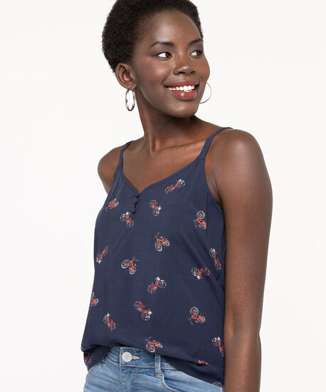Strappy Light Mixed Media Top, Summer Navy/Orange/Pearl, hi-res