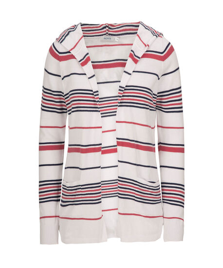 Hooded Striped Open Cardigan, White/Navy/Coral, hi-res