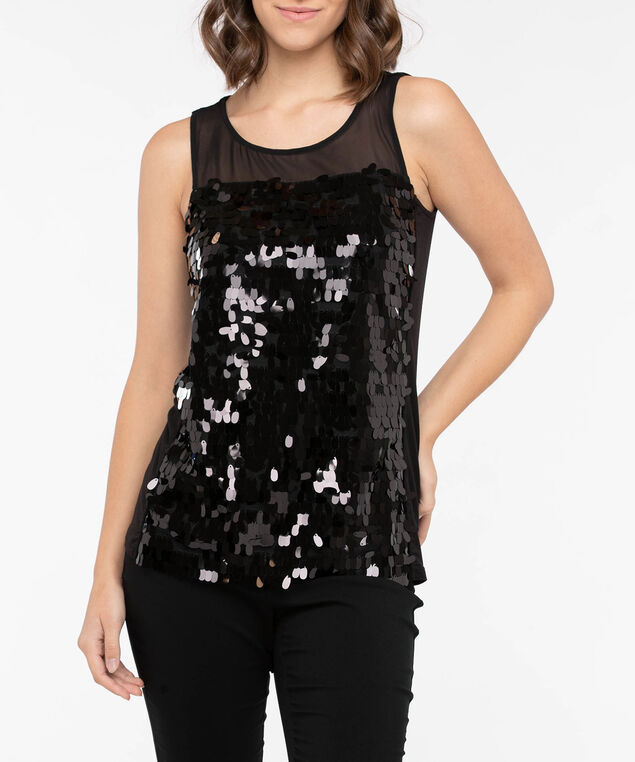 Black Sleeveless Sequin Top, Black, hi-res
