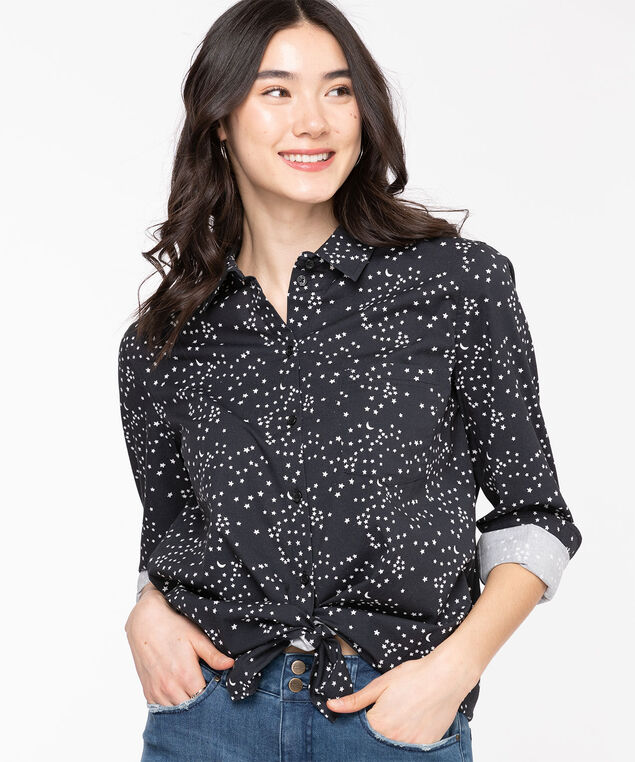 Classic Collared Button-Up Shirt, Black/White Star