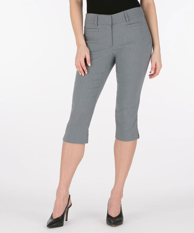 Microtwill Fly Front Capri Pant, Heather Grey, hi-res