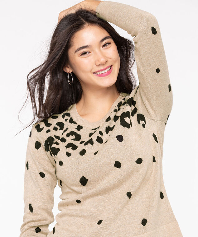 Leopard Print Pullover Sweater, Camel/Black