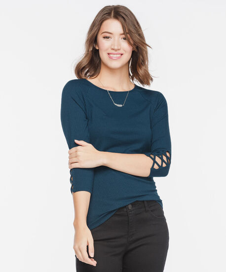 Rib Knit Criss Cross Sleeve Top, Midnight Blue, hi-res