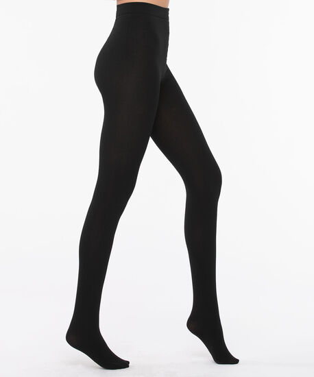 Plush Lined Footed Tights, Black, hi-res