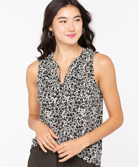 Sleeveless Keyhole Tie-Neck Top, Black/Pearl, hi-res
