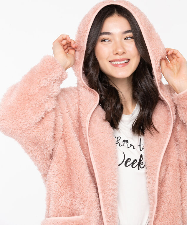 Cozy Hooded Lounge Cardi, Misty Rose