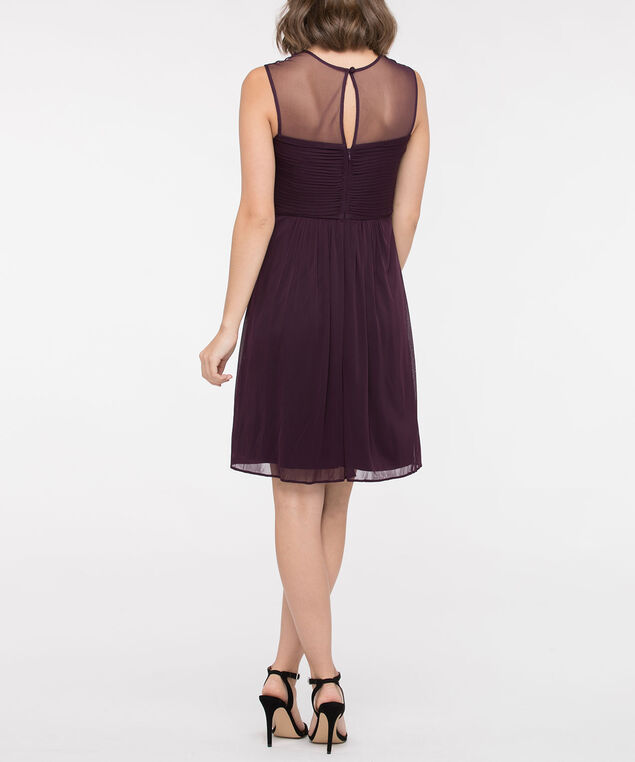 Embellished Illusion Neck Fit & Flare Dress, Plum, hi-res