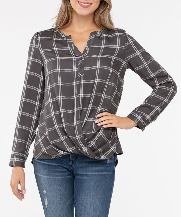 Plaid Twist Front Henley Blouse, Mid Heather Grey/Light Heather Grey, hi-res