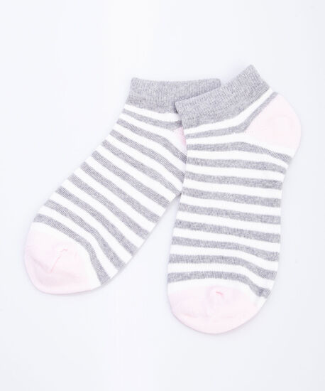 Striped Colour Blocked Ankle Socks, Grey/Pearl/Blossom, hi-res
