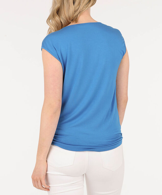 Pleated Cross-Lace Detail Top, Blue, hi-res