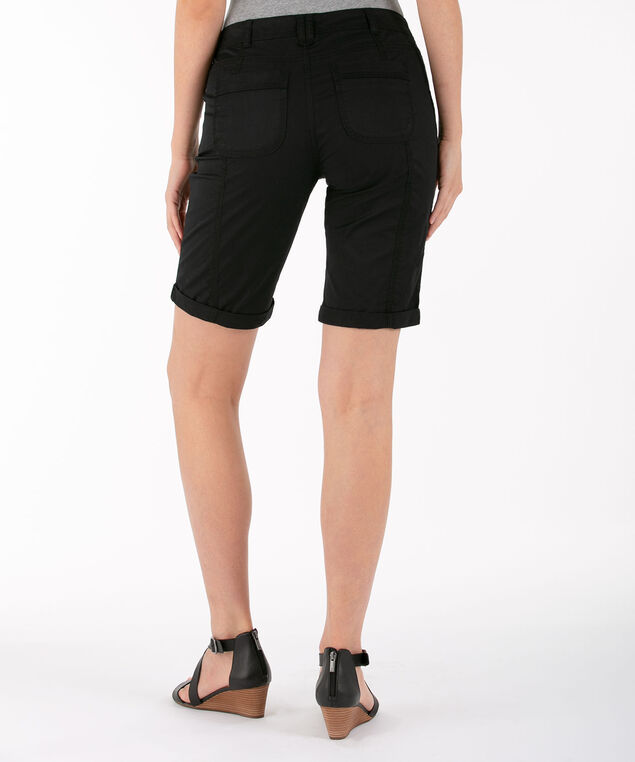 Poplin Roll Cuff Bermuda Short, Black, hi-res