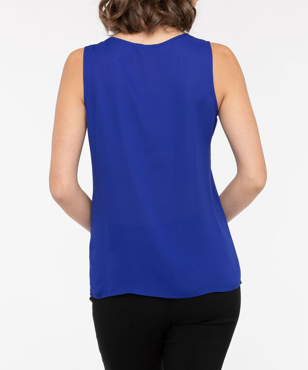Crystal Trimmed Asymmetrical Sleeveless Blouse, Glitz Blue, hi-res
