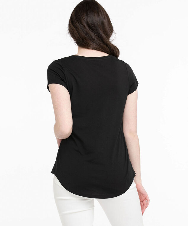 Scoop Neck Shirttail Graphic Tee, Black/Choose Kindness