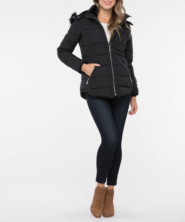 Chevron Quilted Puffer Jacket, Black, hi-res