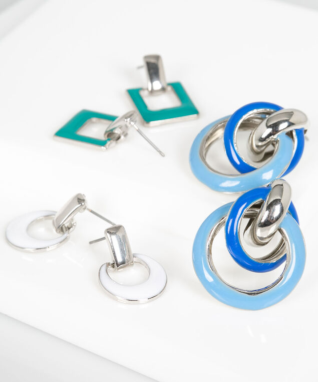 Triple Earring Set, Jade/White/Blue/Rhodium, hi-res