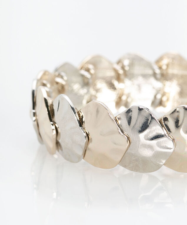 Textured Mixed Metal Stretch Bracelet, Rhodium/Soft Gold, hi-res