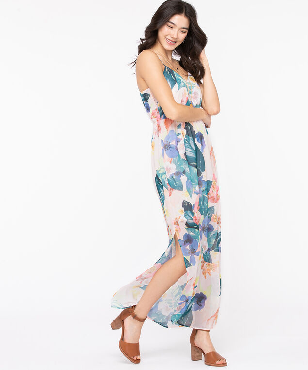 Strappy Side Slit Maxi Dress, Light Pink Floral, hi-res