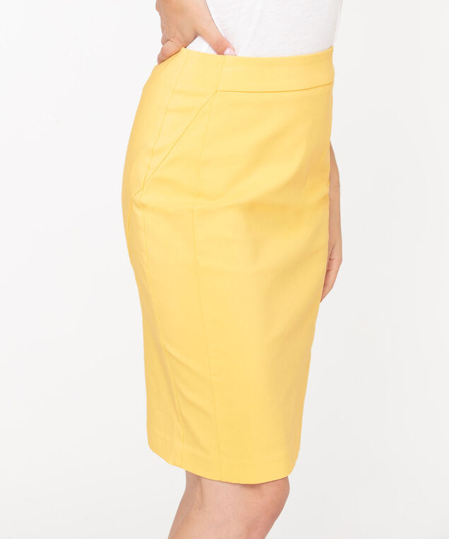 Microtwill Pull on Pencil Skirt, Lemon, hi-res