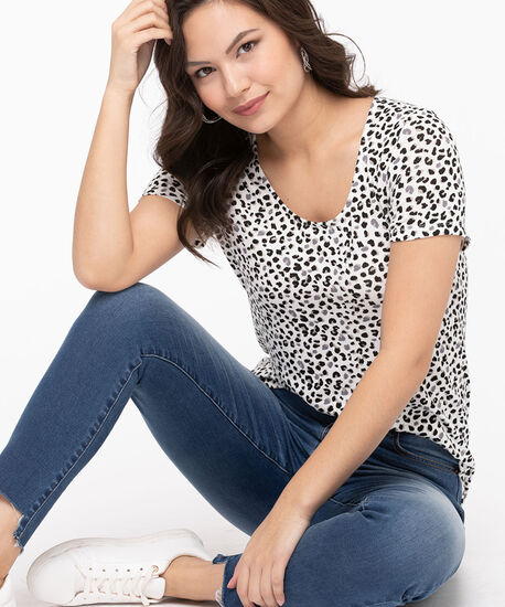 Short Sleeve Lightweight Knit Top, Pearl/Black/Stone, hi-res
