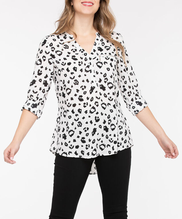 Zipper Pocket Henley Blouse, Pearl/Black, hi-res