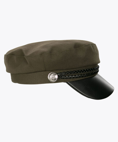 Faux Leather & Braided Cap, Green/Black, hi-res