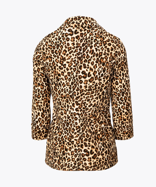Animal Print Open Front Blazer, Brown/Black, hi-res
