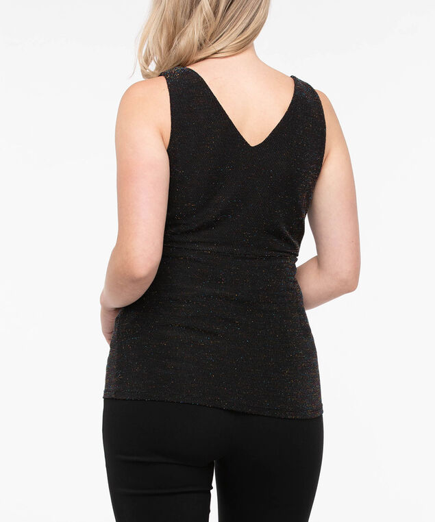 Sleeveless Sparkly Crossover Top, Black, hi-res