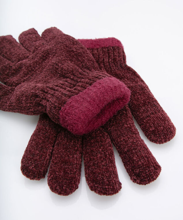 Soft Chenille Lined Gloves, Berry, hi-res