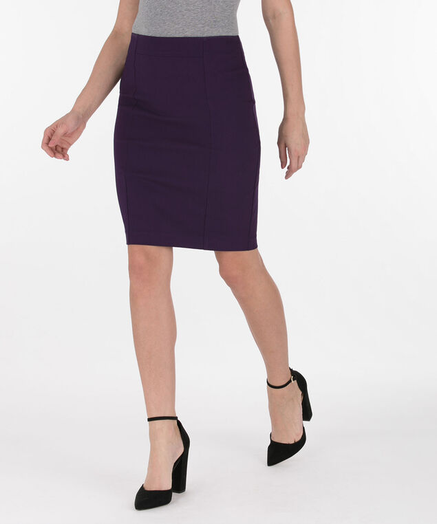 Microtwill Pull-On Pencil Skirt, Deep Purple, hi-res