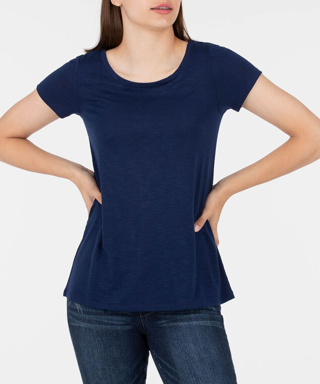 Scoop Neck Cross Back Top, Deep Sapphire, hi-res