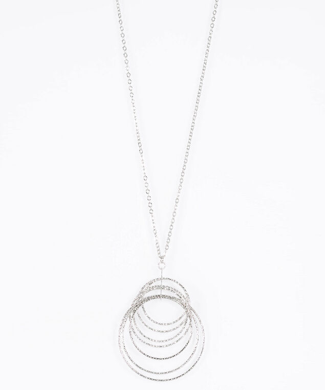 Intertwined Silver Ring Necklace, Rhodium, hi-res