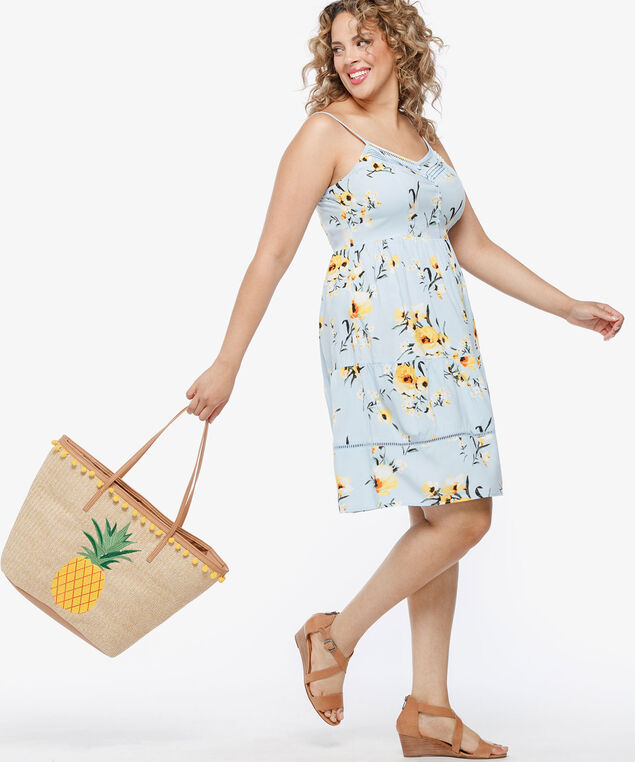 Pineapple & Pompom Beach Tote, Natural/Sunshine/Camel, hi-res