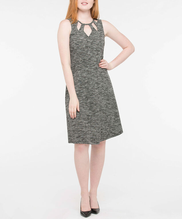 Sleeveless Cut-Out Scoop Neck Dress, Pearl/Black Mix, hi-res
