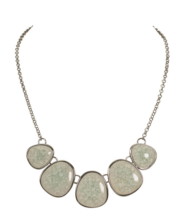 Shattered Stone Statement Necklace, Mint/Rhodium, hi-res
