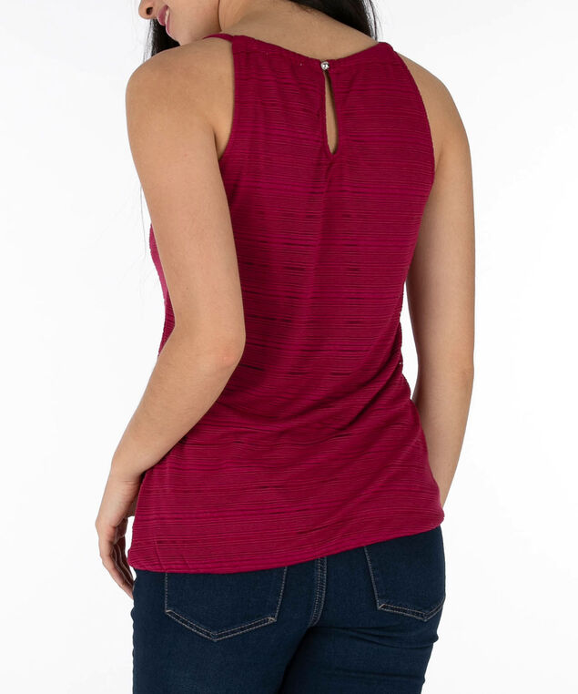 Sleeveless Burnout Bubble Top, Sangria, hi-res