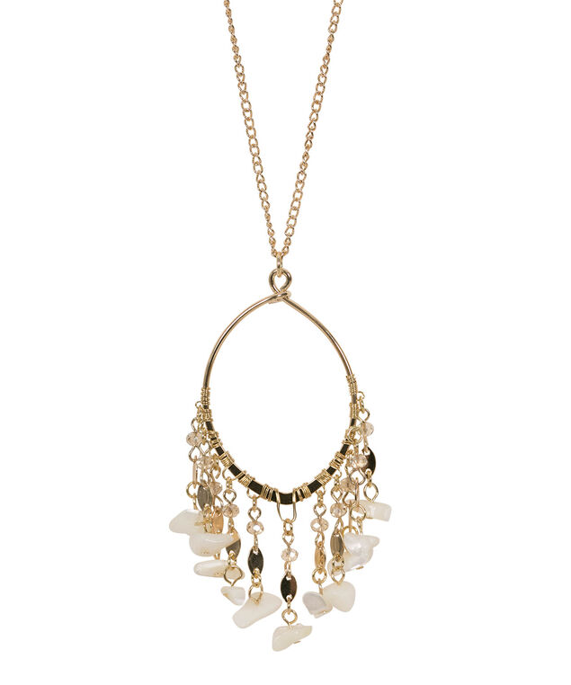 Sea Shell Tassel Pendant Necklace, White/Soft Gold, hi-res