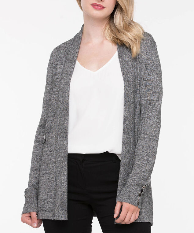 Side Tab Ribbed Trim Cardigan, Charcoal Grey, hi-res