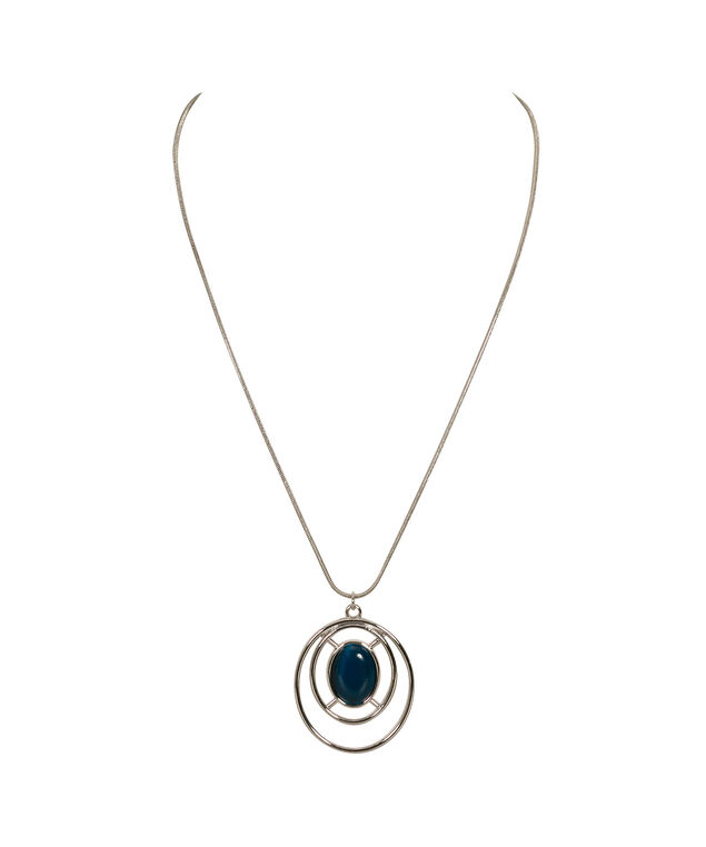 Oval Cateye Necklace, Teal/Rhodium, hi-res