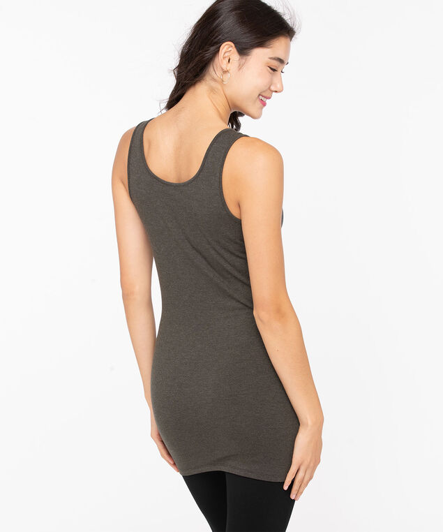 Scoop Neck Tunic Length Cami, Charcoal, hi-res