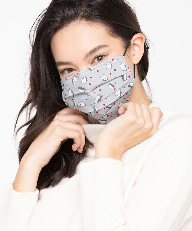 Grey Festive Prints Face Mask 2-Pack, Grey