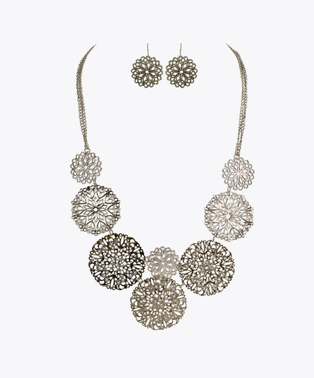 Filigree Disc Necklace Set, Rhodium, hi-res