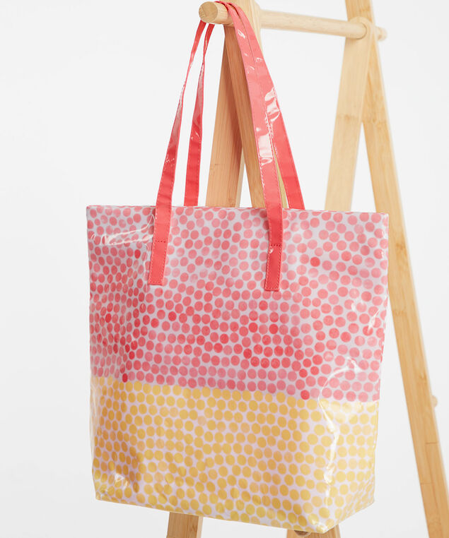 Printed PVC Tote Bag, Coral/Yellow Dot