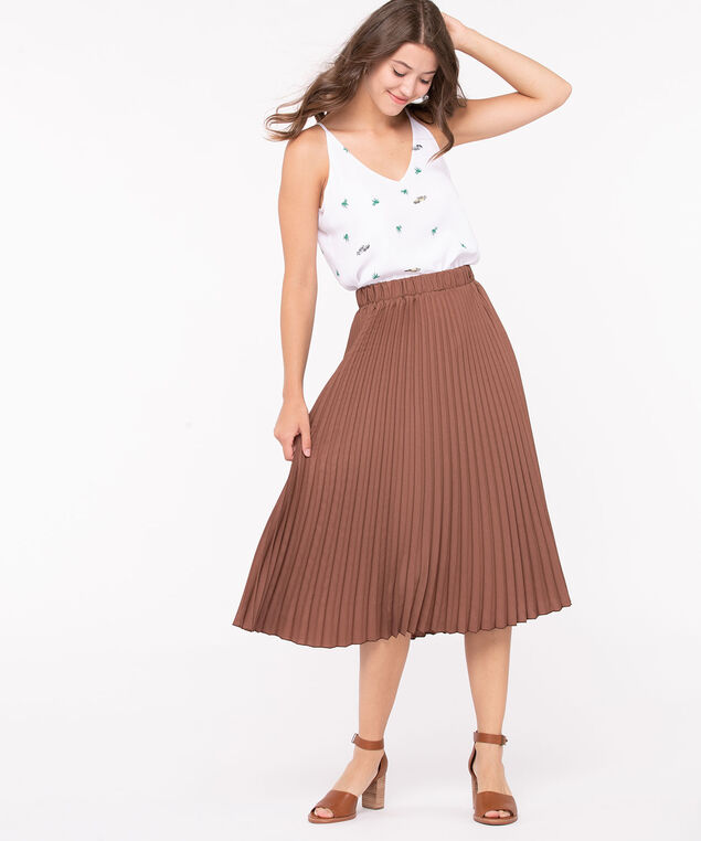 Pleated Midi Skirt, Mocha, hi-res