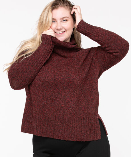 Ribbed Cowl Neck Pullover, Chili Pepper, hi-res
