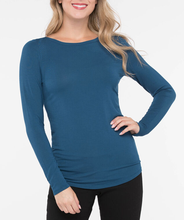 Boatneck Essential Layering Top, Steel Blue, hi-res