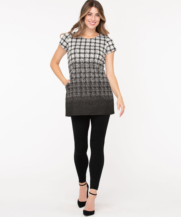Houndstooth Short Sleeve Tunic Top, Black/Grey, hi-res