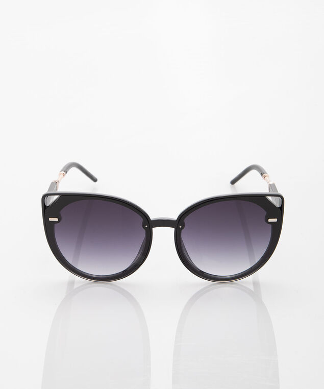 Cutout Oversized Cateye Sunglasses, Black/Silver, hi-res