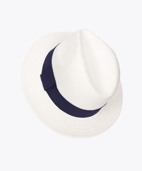 Woven Panama Hat, White/Navy, hi-res