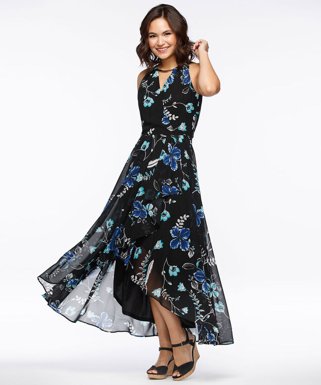 Tulip Hem Halter Maxi Dress, Black/Blue, hi-res